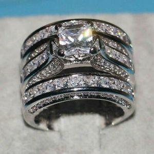 Sterling Silver & White Sapphire Ring Set Sz 10